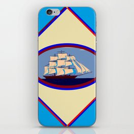 A Nautical Scene with Clipper Ship with Sky Blue Background iPhone Skin