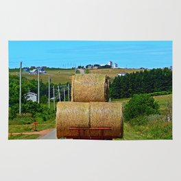 Hay Rolls on the Road in PEI Rug