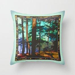 MOUNTAIN LAKE THROUGH HEMLOCK TREES Throw Pillow