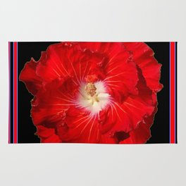 Tropical Red Hibiscus Flower on Black Rug