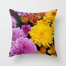 Bunches of Mums Throw Pillow