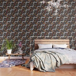 Acorns, flowers and a dotted river Wallpaper