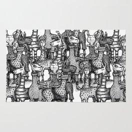 A Crowd of Llamas in Pajamas by dotsofpaint Rug