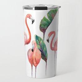 Pink Flamingos with some Strelizia Foliage Travel Mug