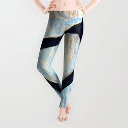 stone black line uneven ocean blue brown pattern Leggings