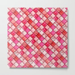 Faux Patchwork Quilting - Pink and Red Metal Print
