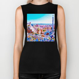 Park Guell Watercolor painting Biker Tank
