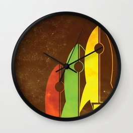 Retro Rocket Ships Wall Clock