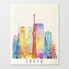Tokyo landmarks watercolor poster Canvas Print
