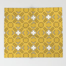 Ethnic pattern in yellow Throw Blanket