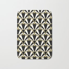 Black, White and Gold Classic Art Deco Fan Pattern Bath Mat