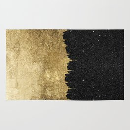 Faux Gold & Black Starry Night Brushstrokes Rug