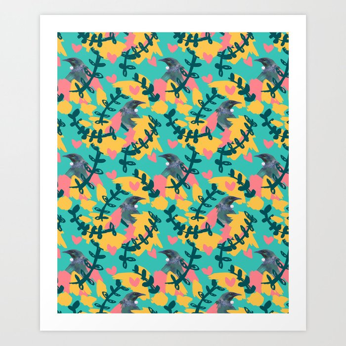 Blocky Tui Heart Print Art Print