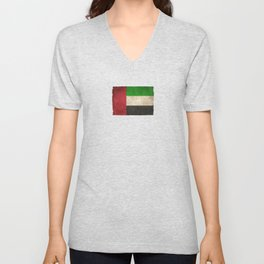 Old and Worn Distressed Vintage Flag of United Arab Emirates Unisex V-Neck