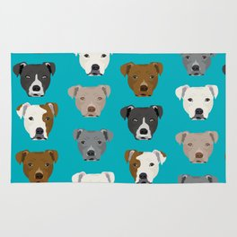 Pitbull faces dog art dog pattern pitbulls cute gifts for rescue dog owners Rug