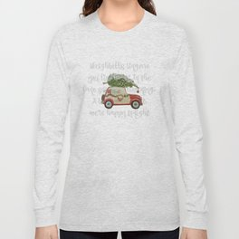 Vintage Christmas car with tree red Long Sleeve T-shirt
