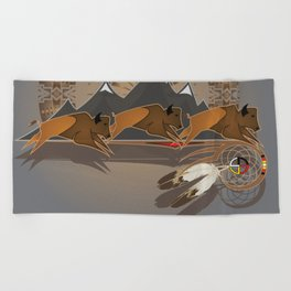 Native American Indian Buffalo Nation Beach Towel