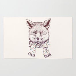 Fox and scarf Rug