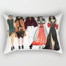 Glam Girls, Pinales Illustrated Rectangular Pillow