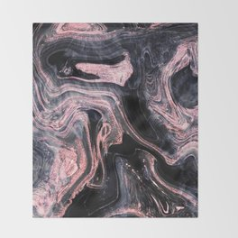 Stylish rose gold abstract marbleized design Throw Blanket