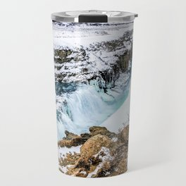 Gulfoss Iceland in Winter Travel Mug