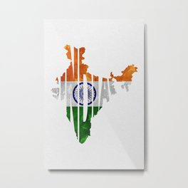 India World Map / Indian Typography Flag Map Art Metal Print