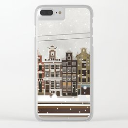 Amsterdam in the snow Clear iPhone Case
