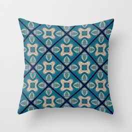 Teal Tile Mosaic Flower Abstract Throw Pillow
