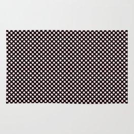 Black and Bridal Blush Polka Dots Rug