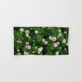 Clover flowers green and white floral field Hand & Bath Towel