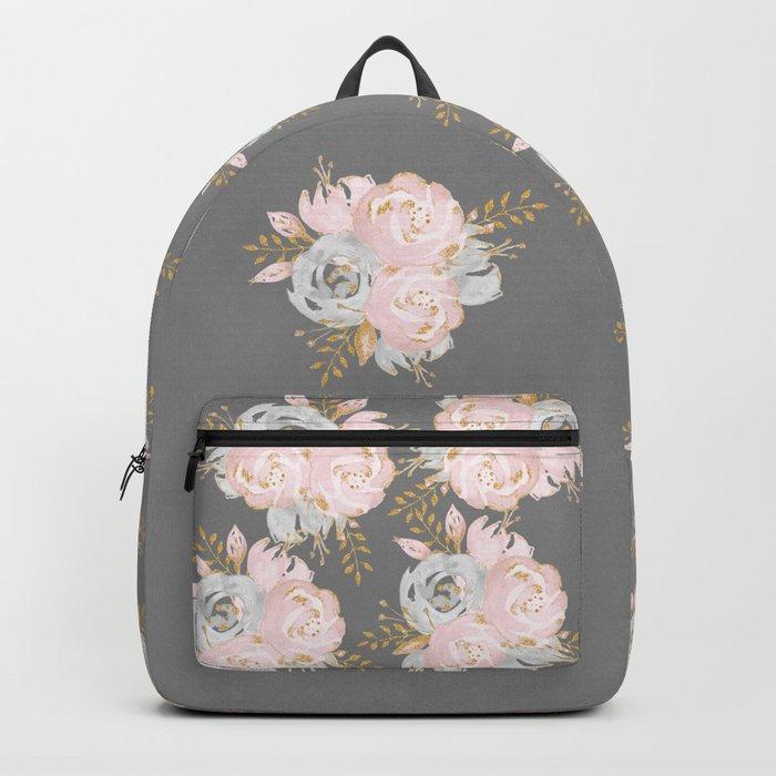 Night Rose Garden Gray Backpack