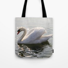 one swan a swimming Tote Bag