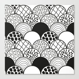black and white doodle scale arcs Canvas Print