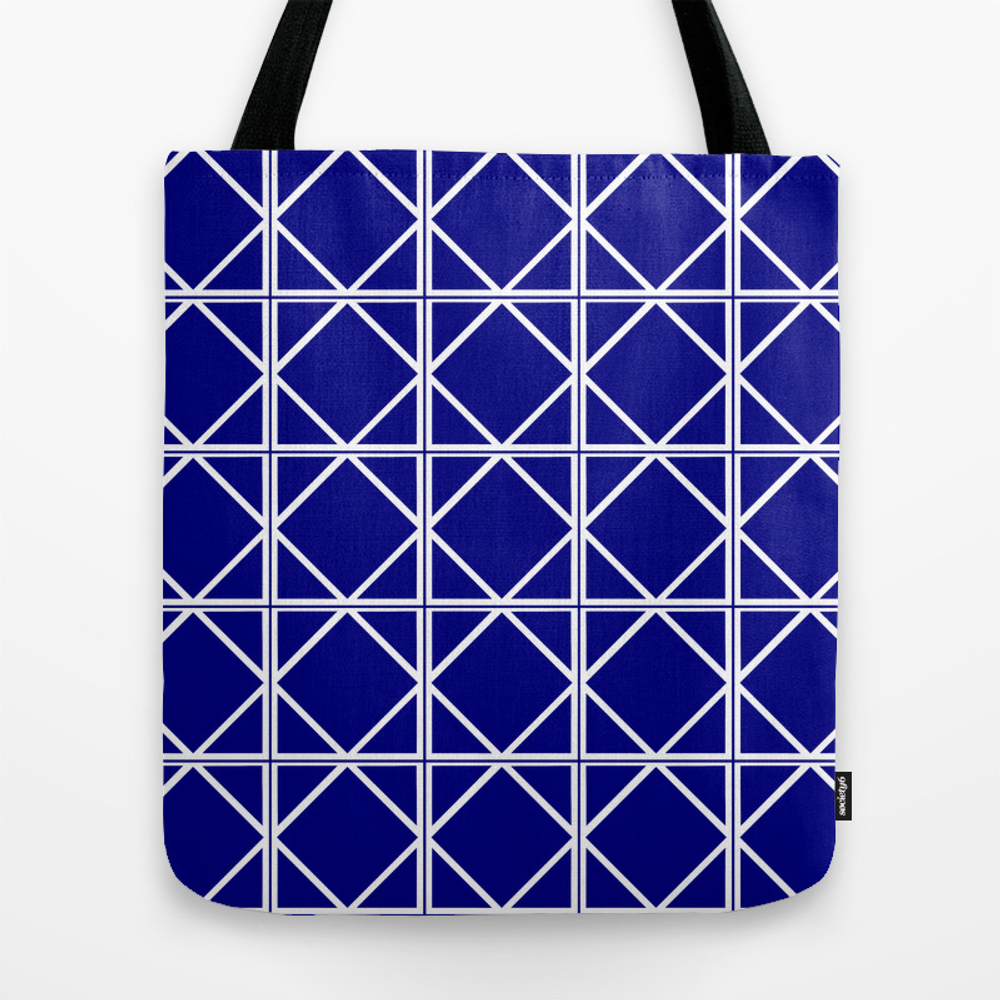 Navy Triangle Square Tote Bag by Artistpride TBG8744779