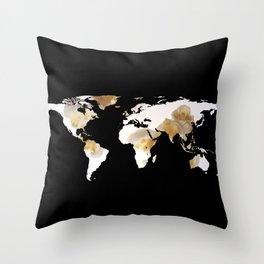 World Map Silhouette - Popcorn Throw Pillow