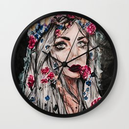 Red Lining Wall Clock