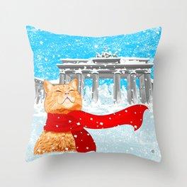 Berlin Snowcat Throw Pillow