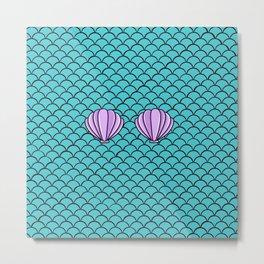 Scaly Mermaid Shell Top Metal Print