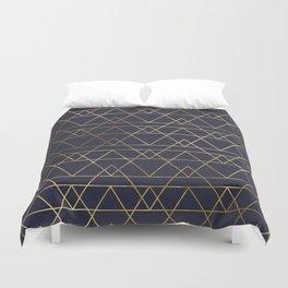 Modern Gold Navy Blue Duvet Cover