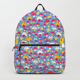 Ditsy Mushrooms in Blue Backpack