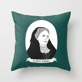 Elizabeth Blackwell Illustrated Portrait Throw Pillow