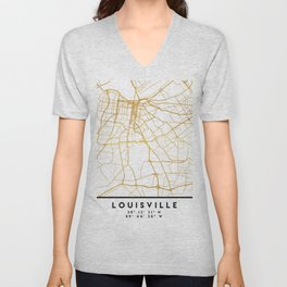 LOUISVILLE KENTUCKY CITY STREET MAP ART Unisex V-Neck