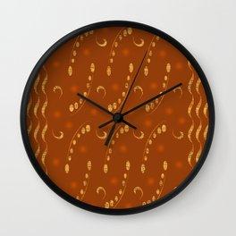 Antiqued Musical Notes Golden Honey Locust Design Wall Clock