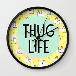 Cat Thug Life - funny cat illustration Wall Clock