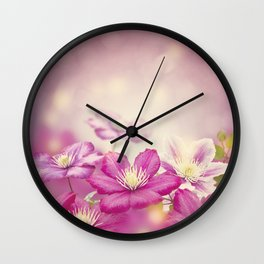 Purple clematis flowers for background Wall Clock