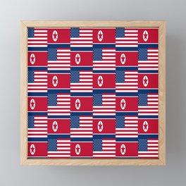 Mix of flag: USA and North Korea Framed Mini Art Print