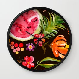 Tropical Fruit Festival in Black | Frutas Tropicales en Negro Wall Clock