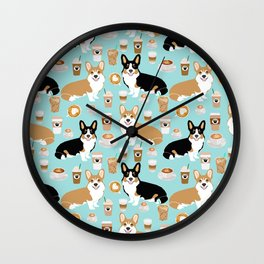 Corgis and coffee pillow phone case corgi gift cute cardigan corgi art Wall Clock