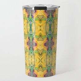 Vintage African Yellow Dynamic Pattern Travel Mug