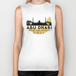 ABU DHABI UNITED ARAB EMIRATES SILHOUETTE SKYLINE MAP ART Biker Tank